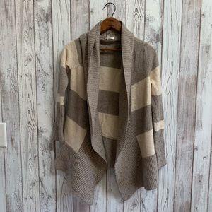 Caslon open cardigan cream/brown stripe size L